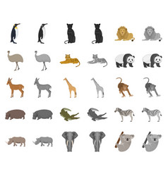 Different animals cartoonmonochrom icons in set vector