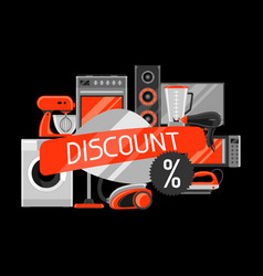 discount background with home appliances vector image