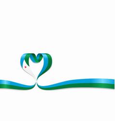 Djibouti flag heart-shaped ribbon vector