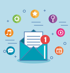 E-mail envelope marketing message and icons vector