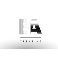 Ea e a black and white lines letter logo design vector
