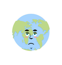 earth sad emoji planet unhappy emotion isolated vector image