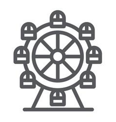 Ferris wheel line icon funfair and entertainment vector