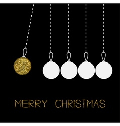 Five hanging christmas balls dash line white and vector