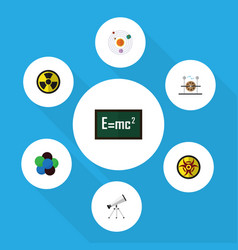 Flat icon study set of electrical engine theory vector
