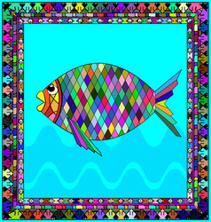 Frame and fish vector