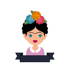 Frida kahlo with floral decoration vector