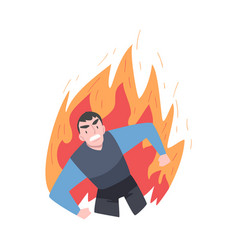 Furious businessman in flame burning fury rage vector