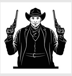 Gangster with two pistols sheriff with colts vector