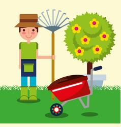 Gardener boy farm work vector