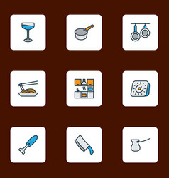 gastronomy icons colored line set with japanese vector image