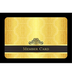 Golden member card with classic vintage pattern vector