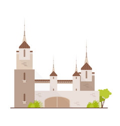 Gorgeous medieval castle fairytale fortress vector
