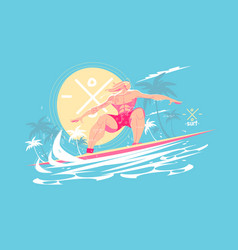 guy standing on surfboard vector image