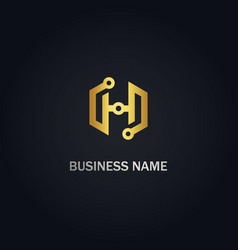 h initial technology gold logo vector image