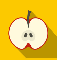half red apple icon flat style vector image