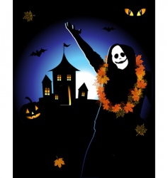 Halloween house on hill vector image vector image
