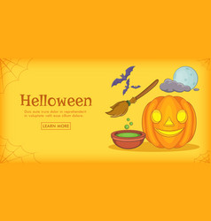 Haloween magic horizontal banner cartoon style vector