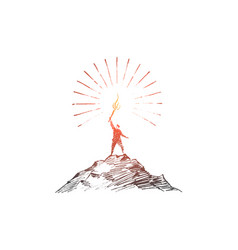 Hand drawn man on top of hill with shining torch vector