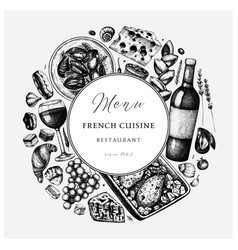 hand sketched french cuisine vintage design vector image