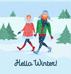 happy couple on winter holidays man and woman vector image