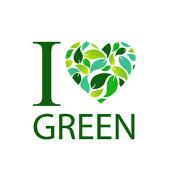 i love green with green leaf heart vector image