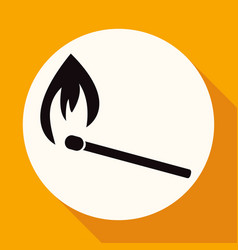 icon fire warning on white circle with a long vector image