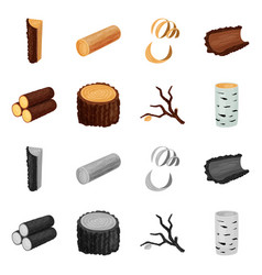 isolated object of tree and raw icon set of tree vector image