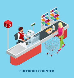 isometric checkout counter woman paying with a vector image