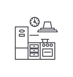 kitchen line icon concept kitchen linear vector image
