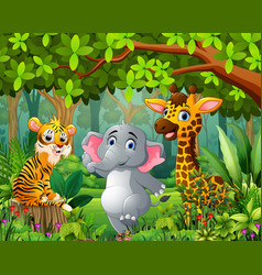 landscape forest cartoon of green with wild animal vector image