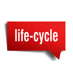 Life-cycle red 3d speech bubble vector