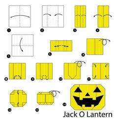 Make origami a jack o lantern vector
