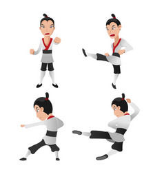 martial art warrior character fight vector image