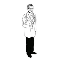 medical doctor physician with glsses and vector image