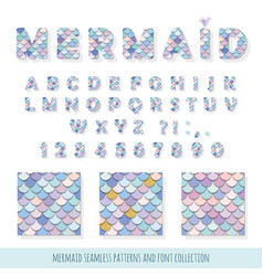 Mermaid font and seamless patterns set vector