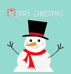 Merry christmas candy cane snowman face head vector