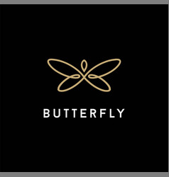 minimalist elegant butterfly dragonfly wings logo vector image