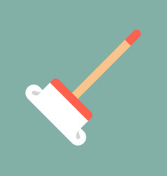 Mop cleaning and laundry service related flat vector