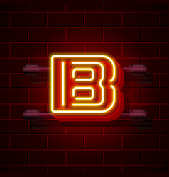 Neon city font letter b signboard vector
