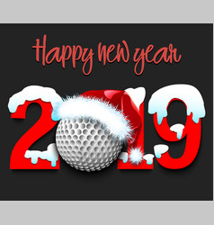 New year numbers 2019 and golf ball vector