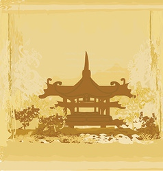 old paper with Chinese temple on abstract Asian vector image