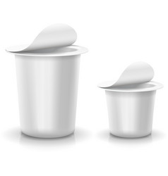 Opened white cup tub food plastic container for vector