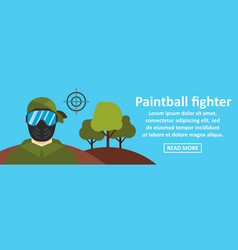Paintball fighter banner horizontal concept vector
