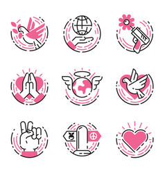 Peace outline pink icons love world freedom vector