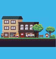 pixel art street vector image