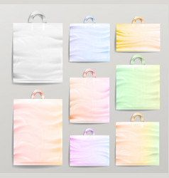 plastic shopping realistic bags set with handles vector image