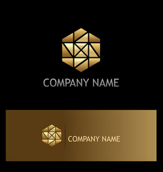 Polygon gold mozaic shape logo vector