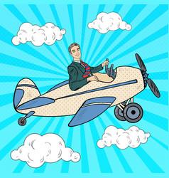 Pop art businessman riding retro airplane vector