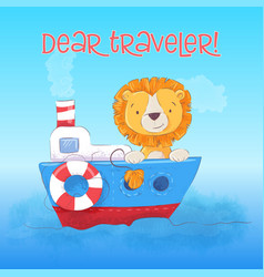 Postcard cute lion cub floats on boat cartoon vector